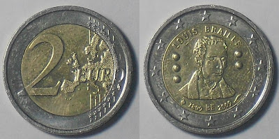 2 euro belgium louis braille