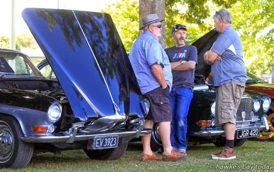 L-R: Richard Cuthbert, Takapau, Steve Thomson, Havelock North, Roy Herbert, Napier, with Jaguars - Wheels on Windsor Car Show at Windsor Park, Hastings. photograph