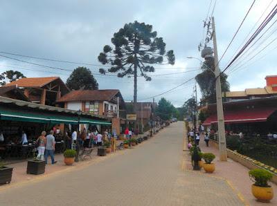 A avenida central de Monte Verde reúne lojas, restaurantes, bares e lanchonetes, sendo uma das poucas vias pavimentadas do recanto na Serra da Mantiqueira.