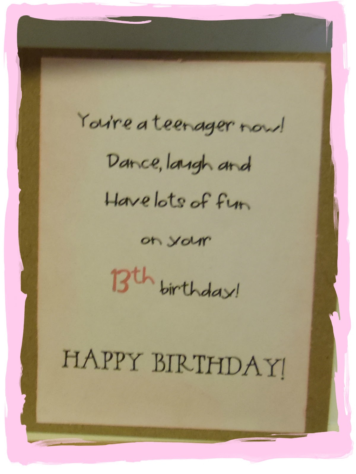 Creating With The Js A 13th Birthday Card