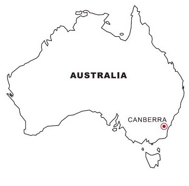 Coloring map of australia color area for Australia map coloring page