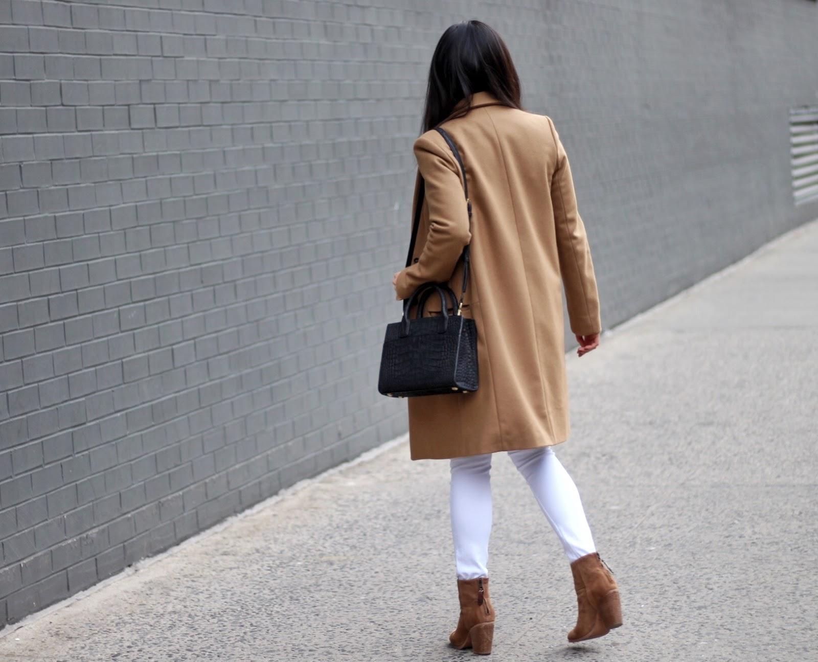Camel Zara coat Rag and Bone Newbury booties LNA tee Frame Denim