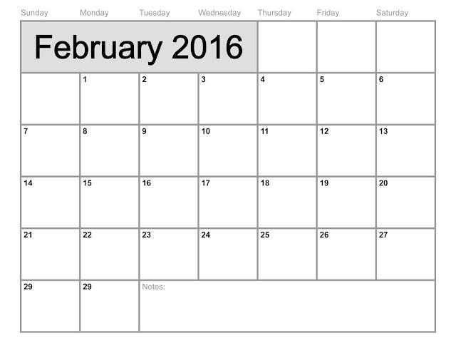 Blank Printable Calendar 2016