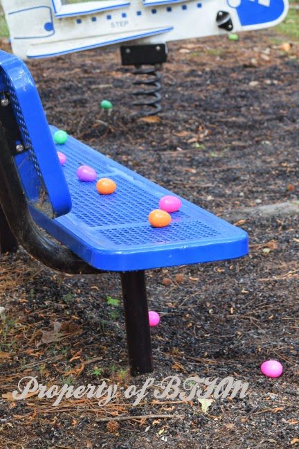 easter eggs on bench