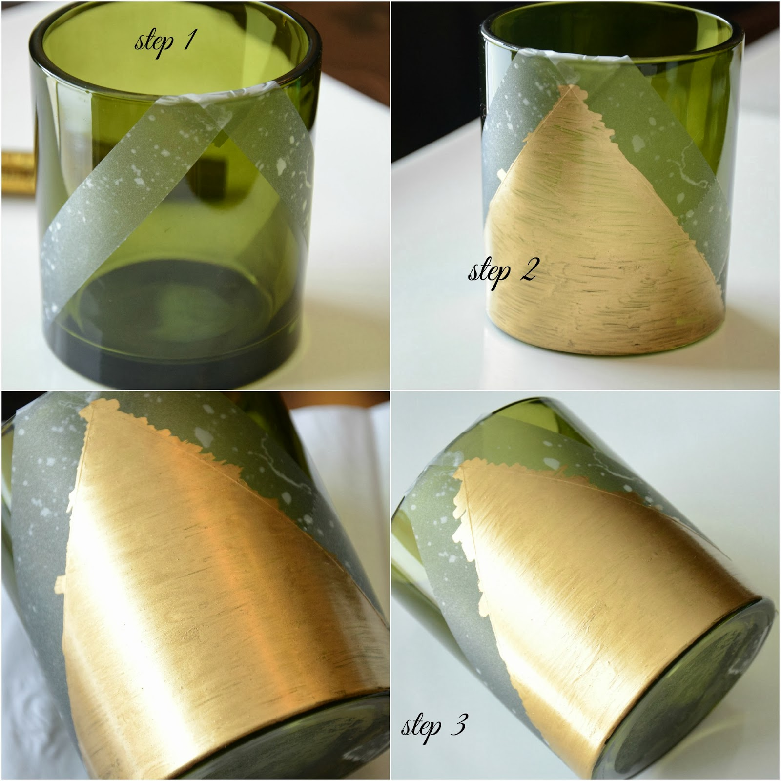 DIY: Gold leaf pen used for geometric pattern on candle votive