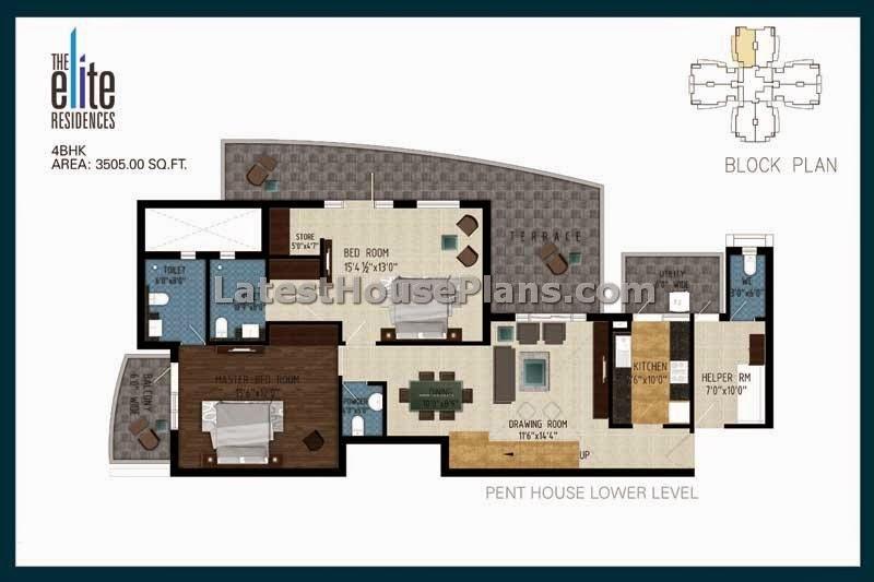 3105 sqft duplex 4 bhk penthouse floor plans latest for 4 bhk house plan ground floor