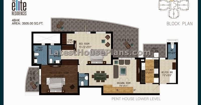 3105 sqft duplex 4 bhk penthouse floor plans latest for 4 bhk house plan images