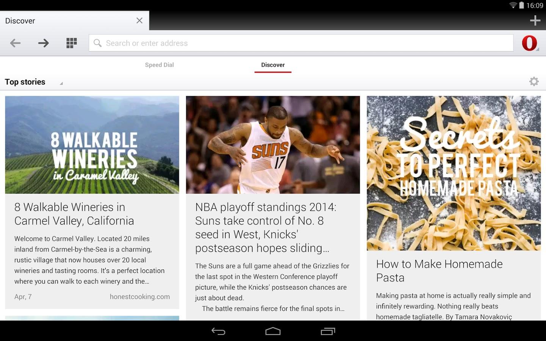 Opera para Android tiene nueva interfaz.