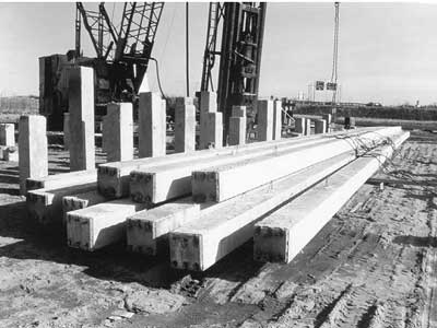 Precast, prestressed concrete piles. Lifting loops are cast into the sides of the piles as crane attachments for hoisting them into a vertical position.