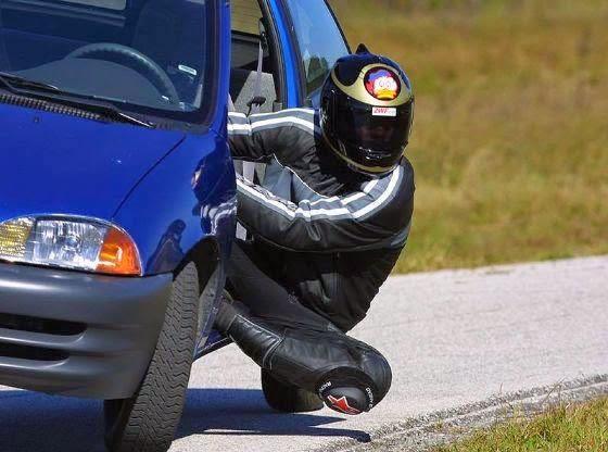 cornering a car