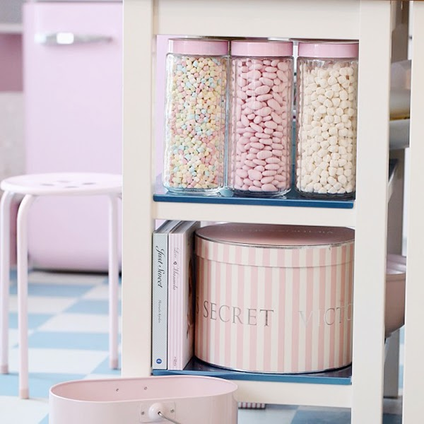 Perfect pastel storage in a kitchen. Jars full of candy. Retro Pastel Kitchen Colors That'll Make You Squeal!