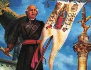 virgen de guadalupe estandarte, la primera bandera de mexico, la primera bandera mexicana, la primer bandera de mexico, evolución de la bandera de mexico, miguel hidalgo