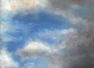 Oil painting of dark clouds encroaching on a blue sky with white Cumulus clods.