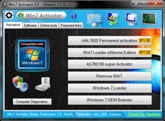 windows 7 activator  for all version for pc