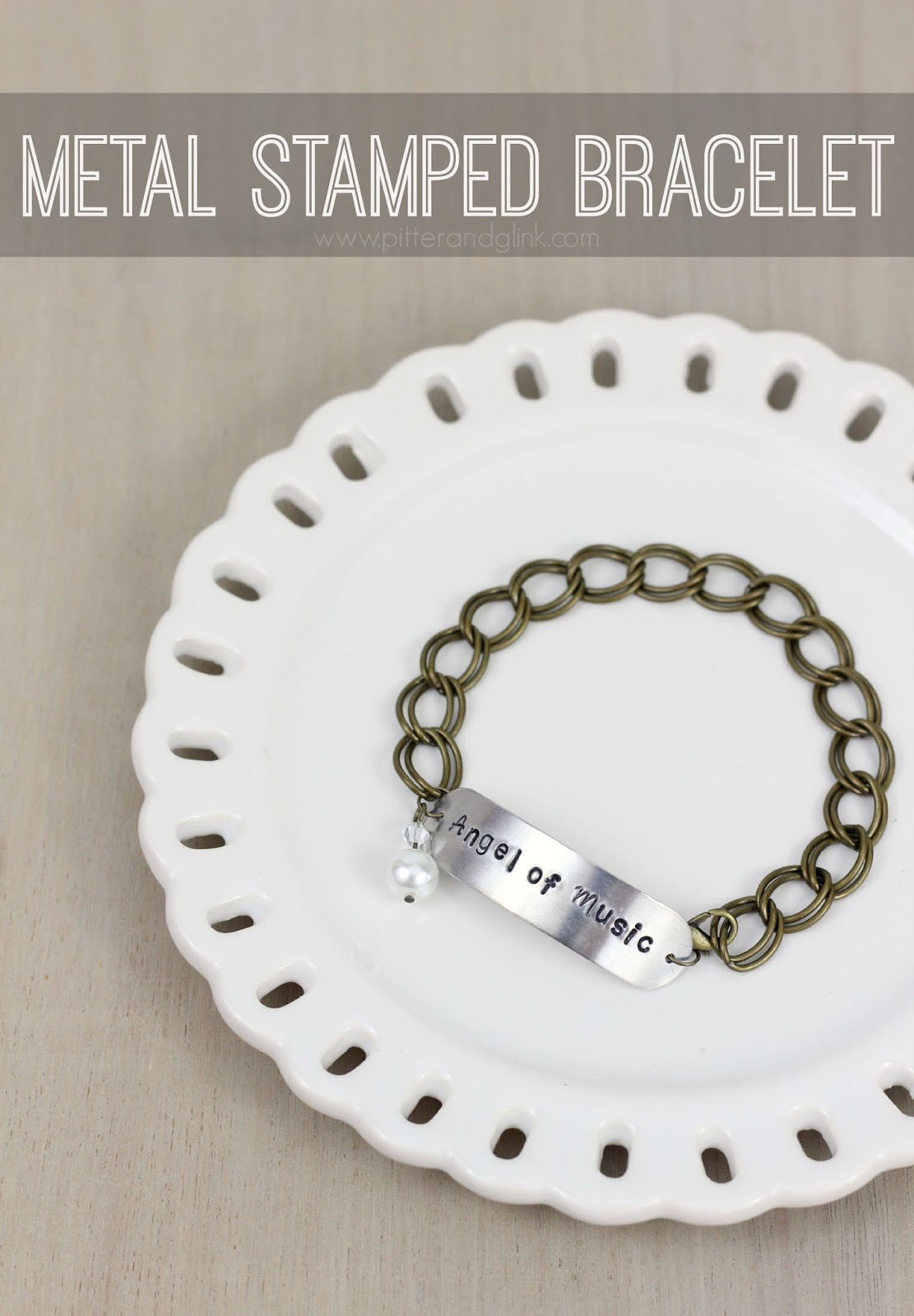 DIY Metal Stamped Bracelet via pitterandglink.com