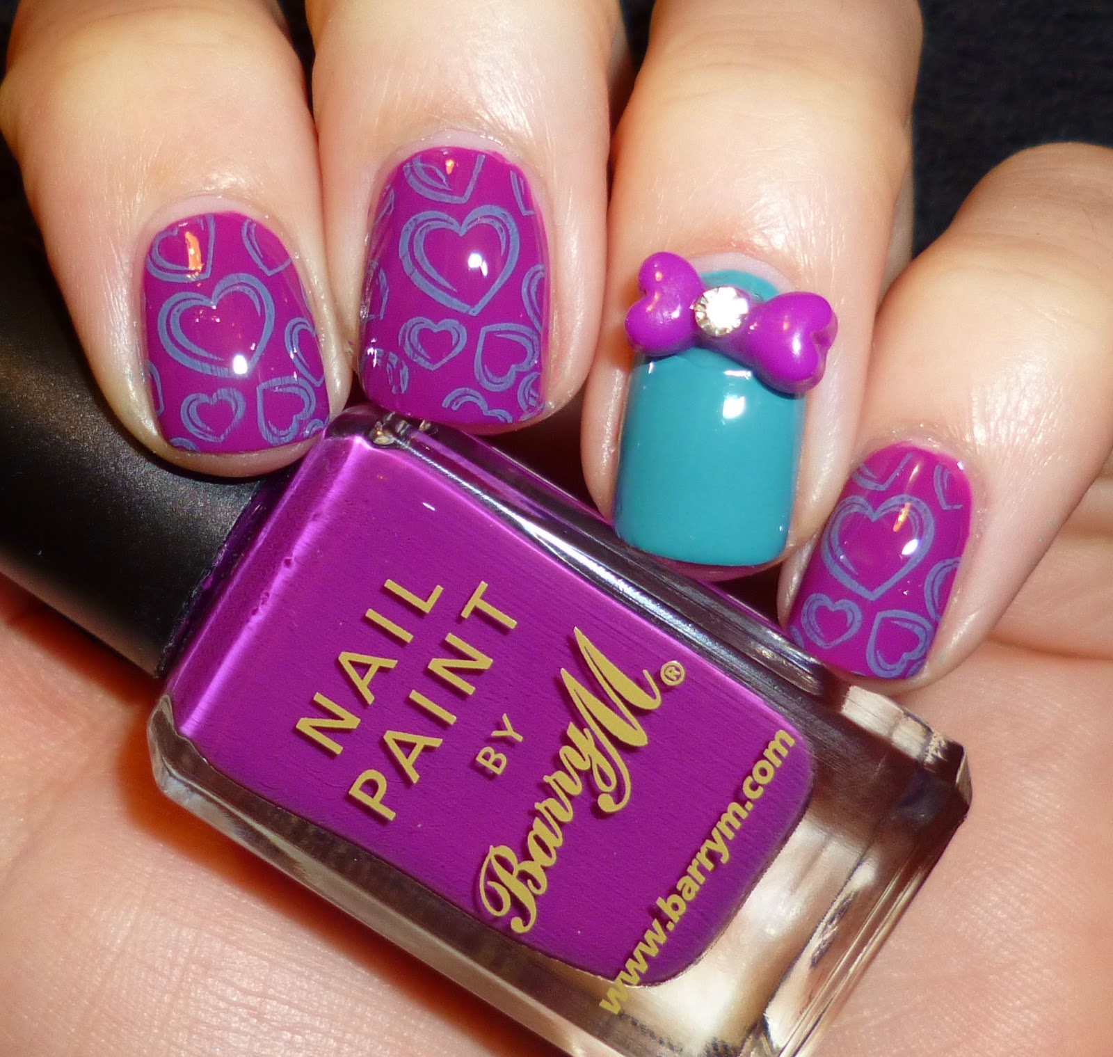 Lou is Perfectly Polished: Fun Friday Mani: Purple and Teal Hearts