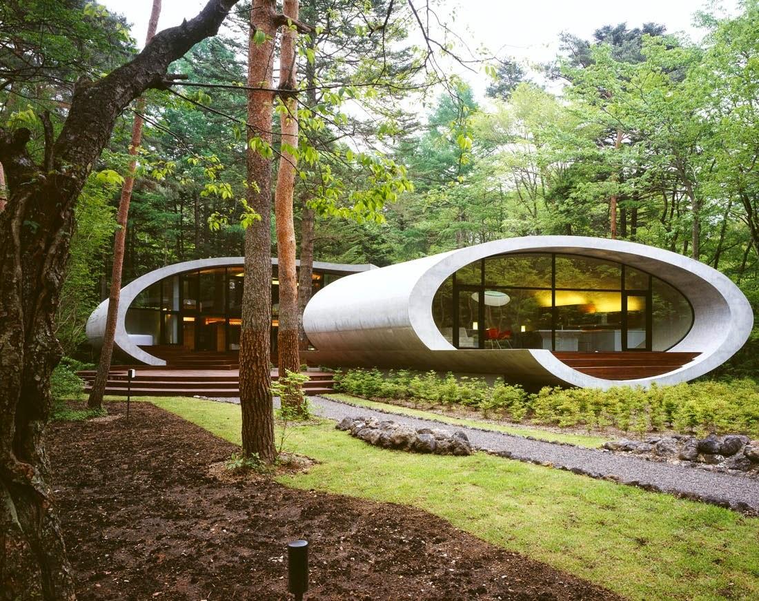 residencia shell diseada por uno de los arquitectos famosos de nuestro tiempo kotaro ide de artechnic japan en el bosque karuizawa ubicado en nagano