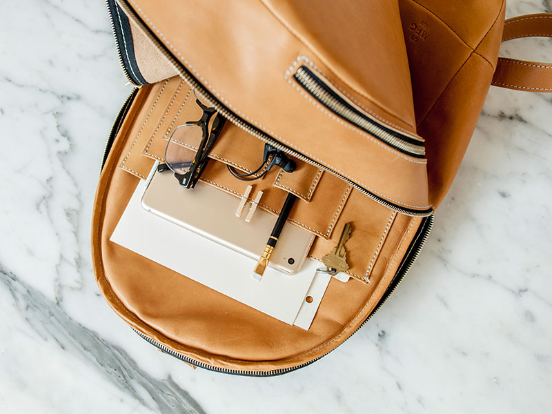 minimal leather backpack