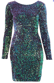 Gabby Sequin Back Dress (Green) Motel