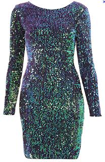 Gabby Sequin Back Dress (Green) Motel