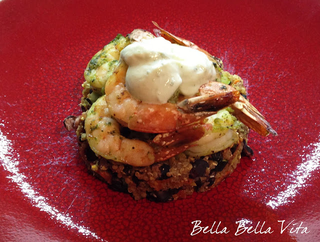 black bean quinoa cakes w/ roasted shrimp recipe