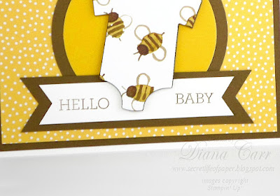 Stampin' Up! Hello Baby Card. Triple Banner Punch. Crazy About You Stamp Set. www.secretlifeofpaper.com