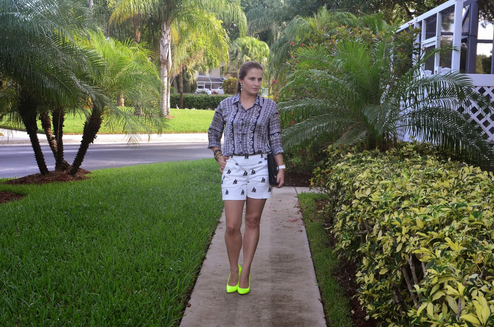 nautical shorts - silk top - neon pumps