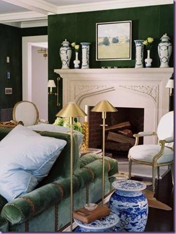 Chinoiserie chic green velvet sofa high low and inspiration for Dark green living room