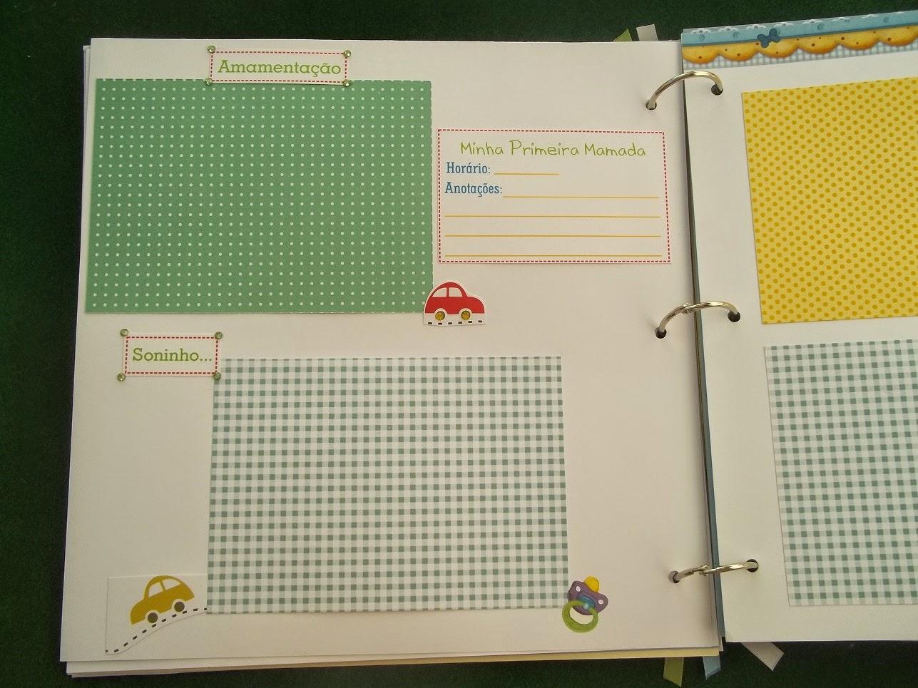 Álbum primeiro aninho bebê, scrapbook, album fotos menino, verde, azul, amarelo