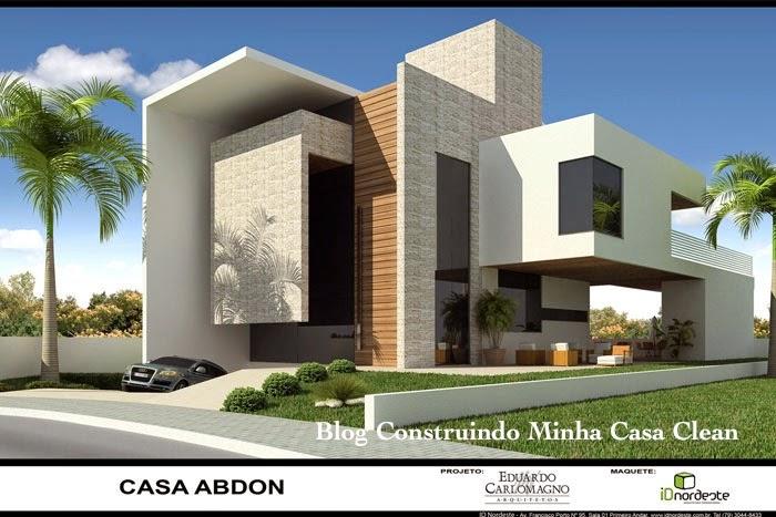 Construindo minha casa clean fachadas de casas com garagem for Casas minimalistas modernas con cochera subterranea