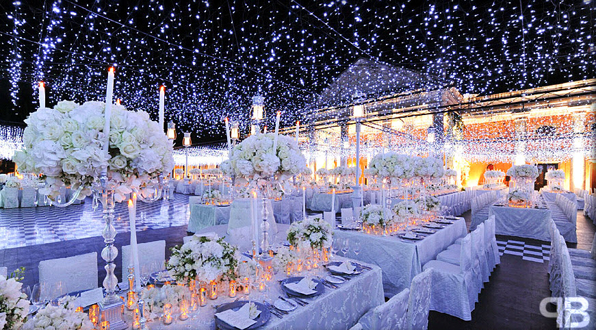 All white winter wonderland wedding table decoration centerpieces