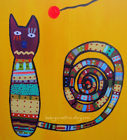 Cat Folk Art Painting