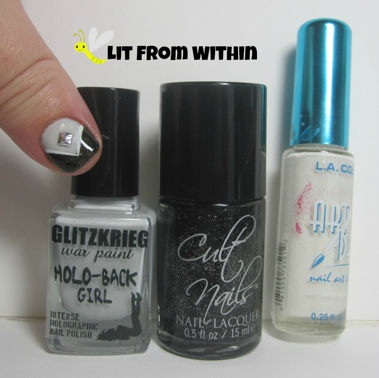 Bottle shot:  Glitzkrieg War Paint Purity, Cult Nails Ignite, and a white striper.