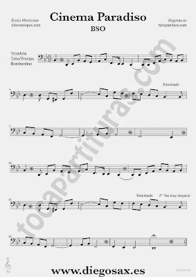 Tubescore Cinema Paradiso by Ennio Morricone Sheet music for Trombone Tube and Euphonium