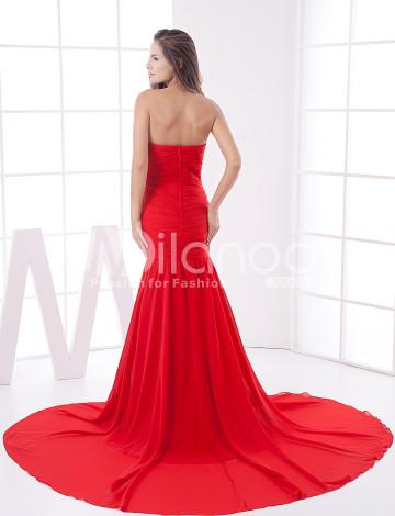 Rouge train en mousseline bretelles Soirée Ladies Dress