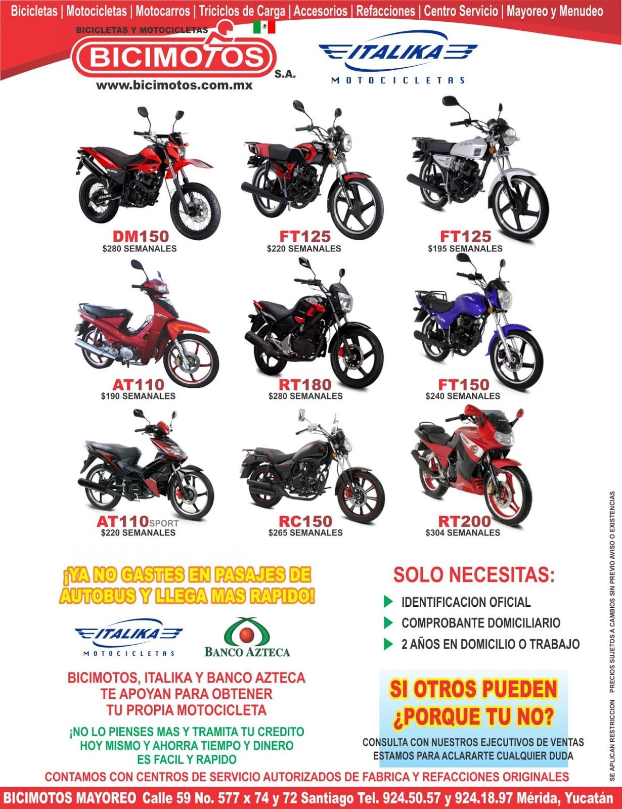 Motocicletas italika a credito paguitos semanales