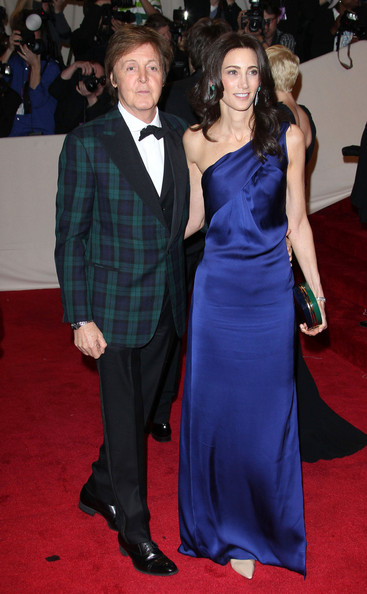 "Nancy Shevell in a satin royal blue one-shouldered column gown, emerald green earrings and a pair of nude heels at the ""Alexander McQueen: Savage Beauty"" Costume Institute Gala held at The Metropolitan Museum of Art on May 2, 2011 in New York City."