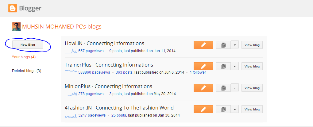 Procedure to create a blog in blogspot