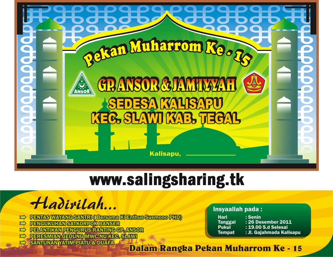 contoh backdrop banner background islami format Corel Draw