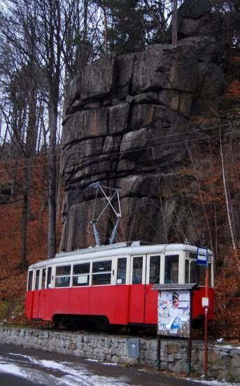Zabytkowy tramwaj w Pogórzynie