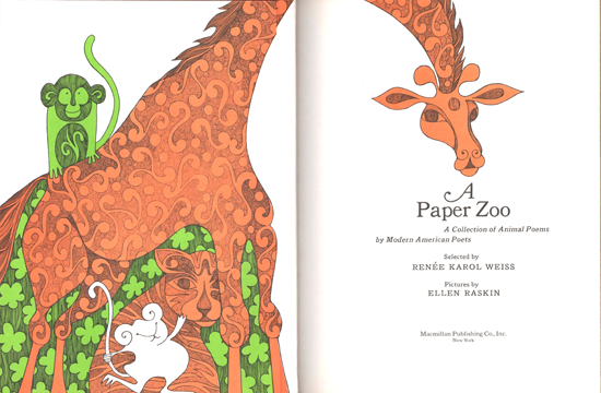 Mod and Mint: Vintage 1960s Childrens book illustration - A Paper Zoo Giraffe