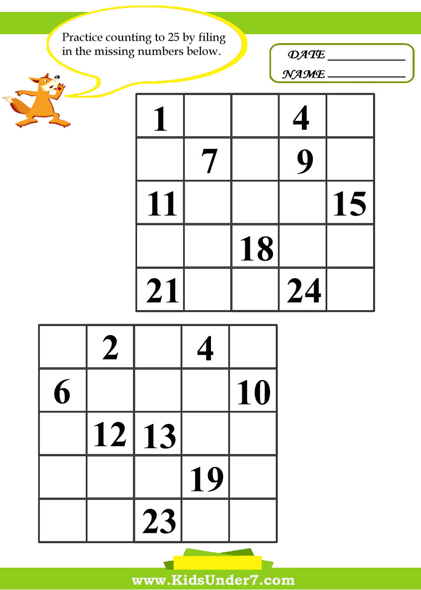 kids under 7 fill in the missing numbers worksheets