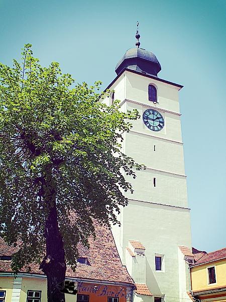 turnul sfatului vedere din piata mare sibiu