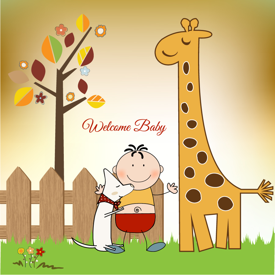 微笑ましい子供と動物のクリップアート warm cartoon vector イラスト素材2