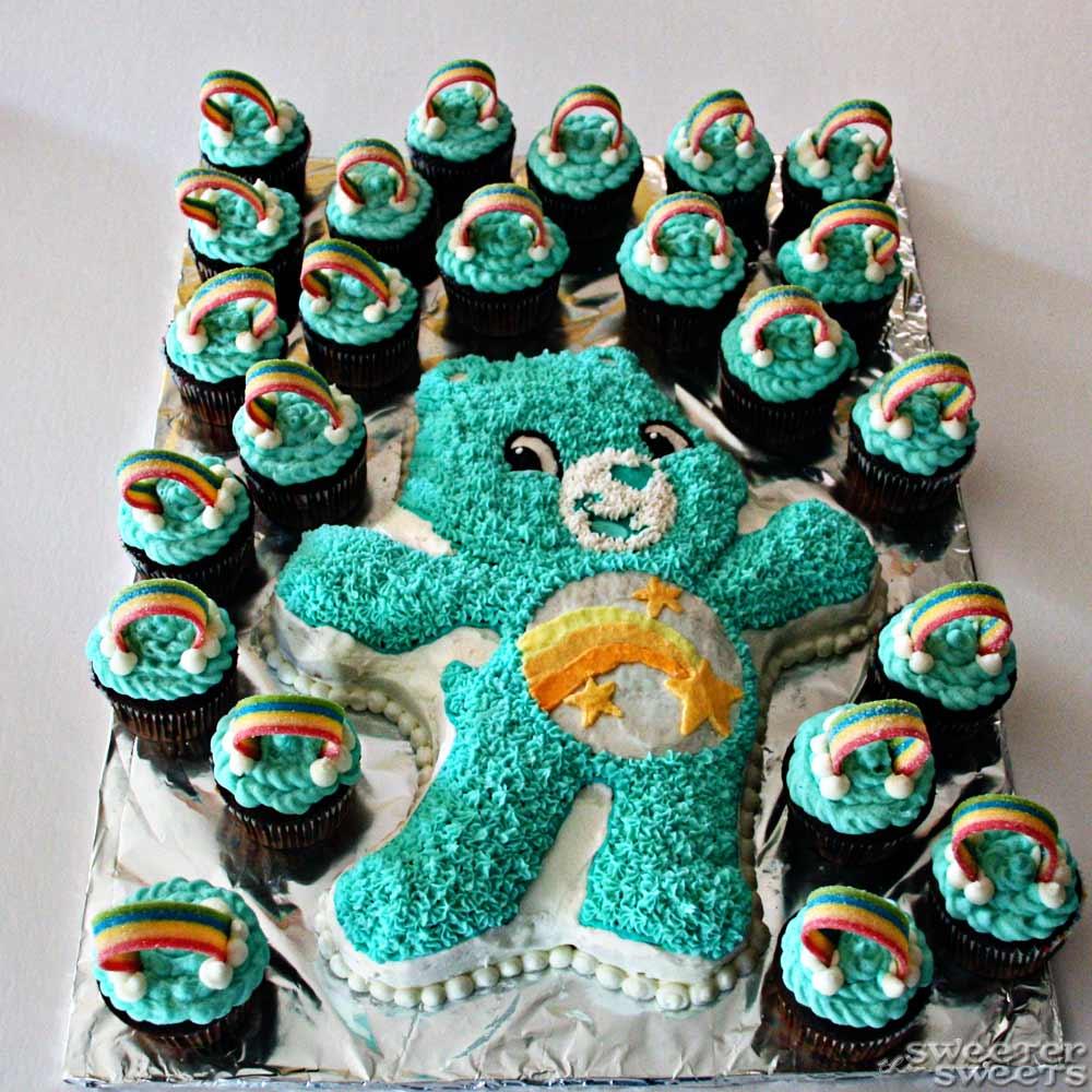 Sweeterthansweets Care Bear Birthday Cake And Rainbow Cupcakes