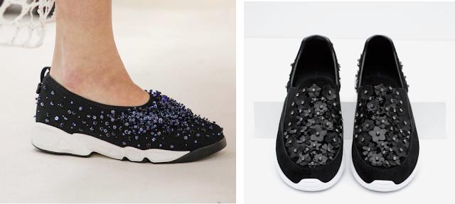 Clon fashion Dior Alta Costura vs. Zara zapatillas deportivas con flores