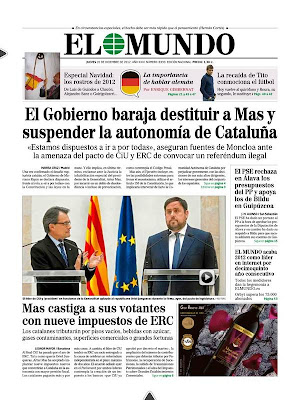 Portada Diari El Mundo - 20/12/2012 - suspensió autonomia