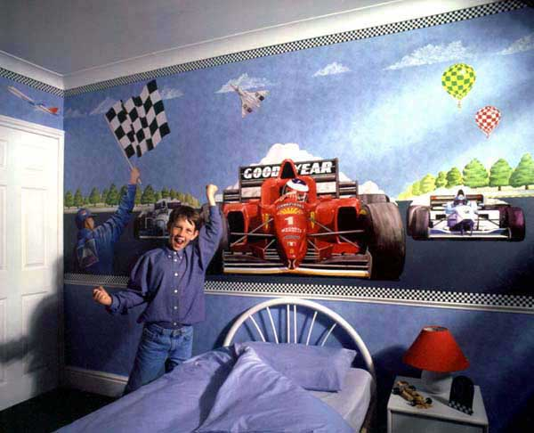 Race car bedroom boy decorating idea for Boy car bedroom ideas