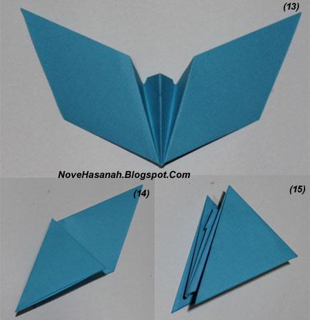 langkah-langkah melipat kertas origami untuk membuat bentuk binatang kelelawar yang unik, cocok untuk anak SD kelas 4, 5, dan 6, serta untuk pemula 14