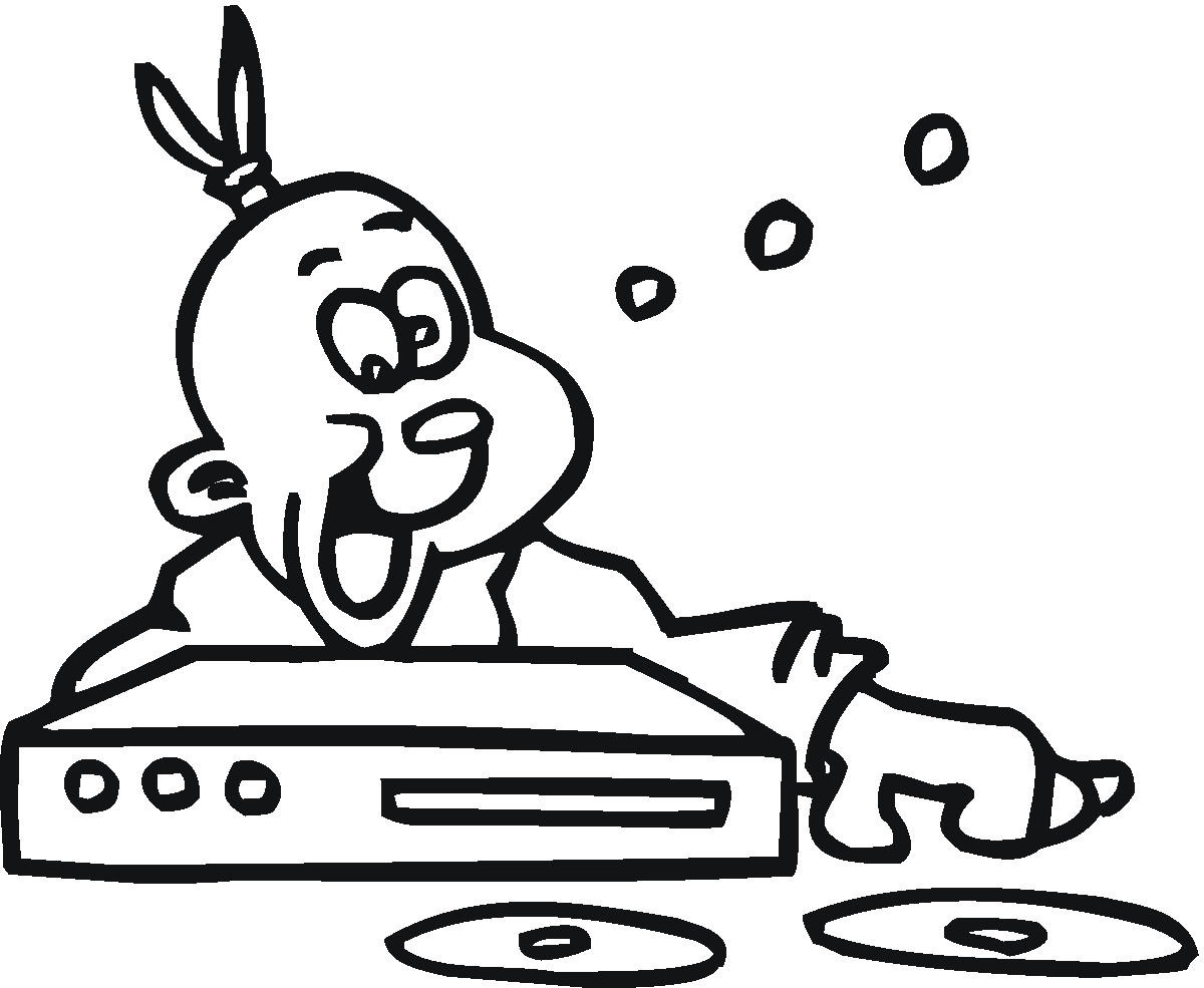 A Desenhar radio mp3 e djs som forte    colorir